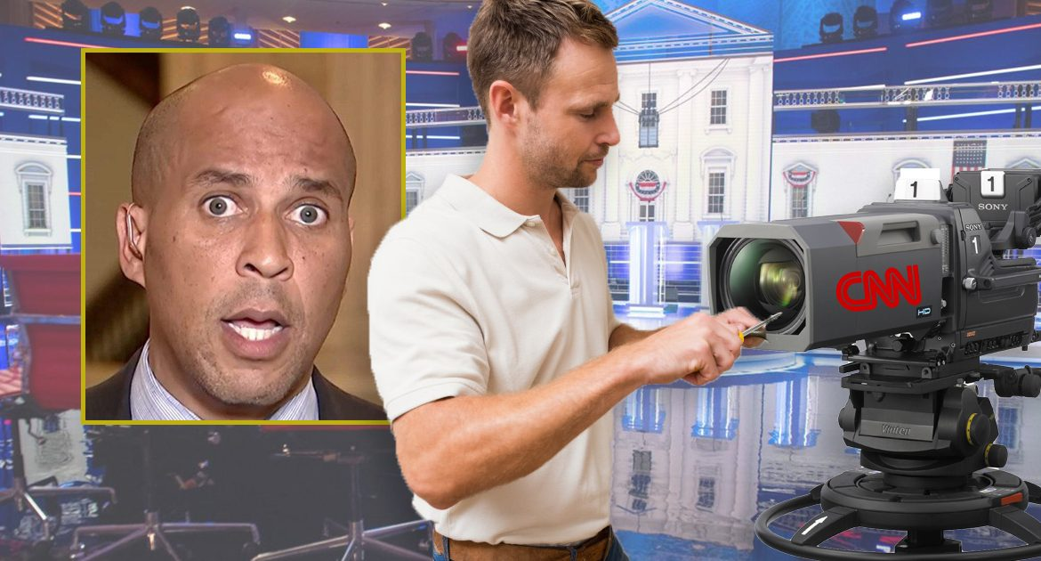 CNN Reinforcing Camera Lenses In Case Cory Booker Stares Directly At Them During Debate