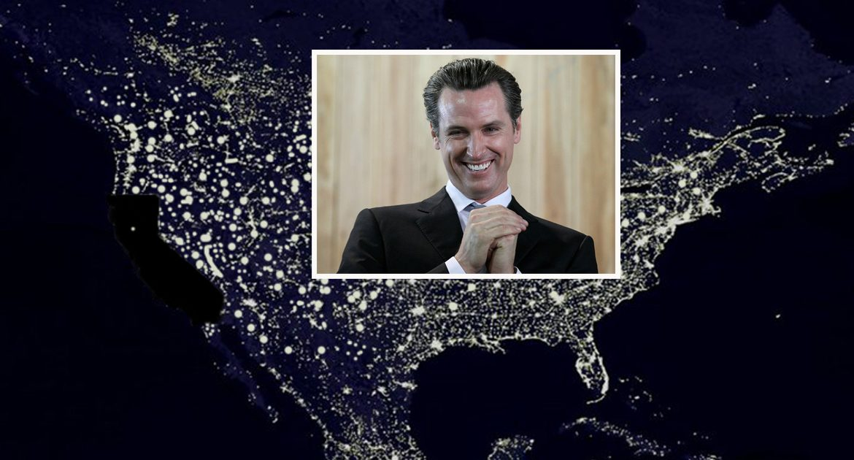 Nighttime photo from space shows Gavin Newsom's progress with California