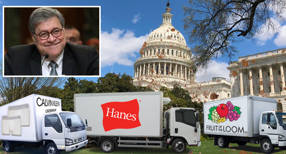 William Barr Asks For Truckloads Of Fresh Underwear Be Rushed To DC As More FBI Documents Are Found