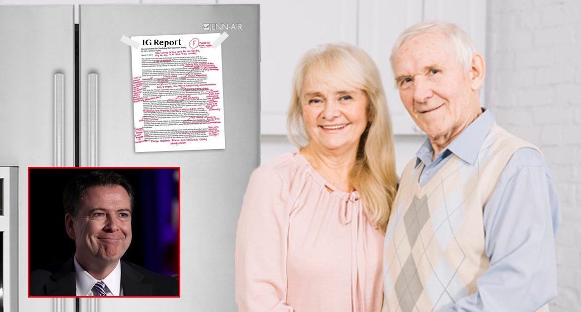 Only 17 Egregious Errors!  James Comey's Parents Proudly Hang IG Report On Fridge