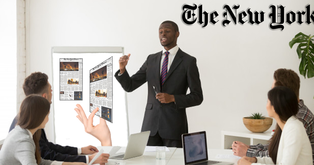 NY Times Explains to Readers That Image on Cover is Not Real, Merely a Thin Layer of Ink on Paper