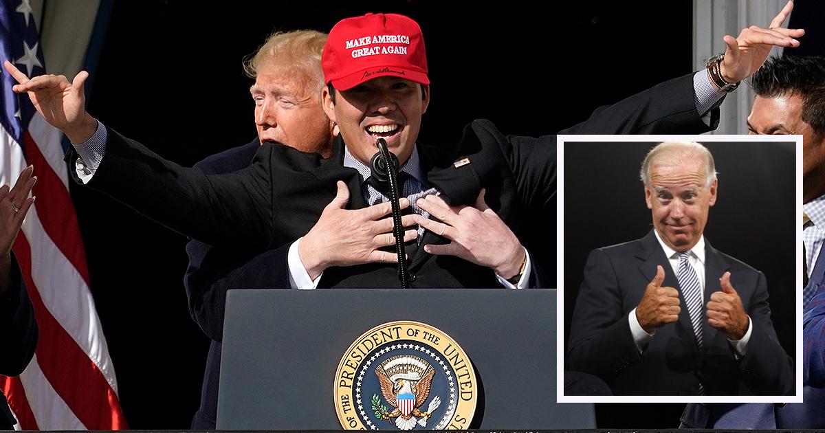 Joe Biden Applauds Donald Trump's 'Perfect Form' Hug in Rare Moment of Unity