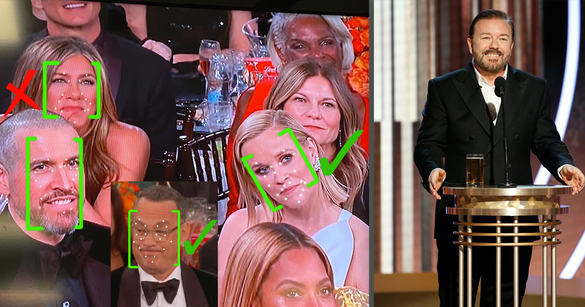 Hollywood Using Facial Recognition Technology to Determine Who Laughed at Ricky Gervais Monologue