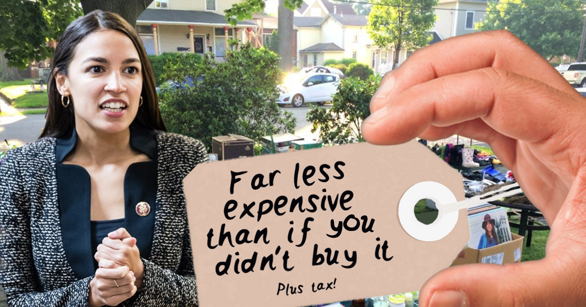 "AOC's Yard Sale Prices Everything: ""Far Less Expensive Than If You Didn't Buy It"""