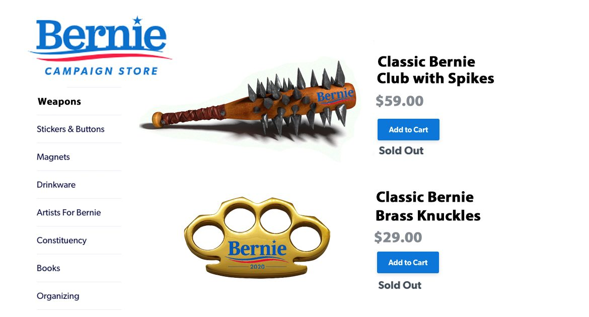 Sanders' Campaign Store Sells-Out of Official Bernie Weapons