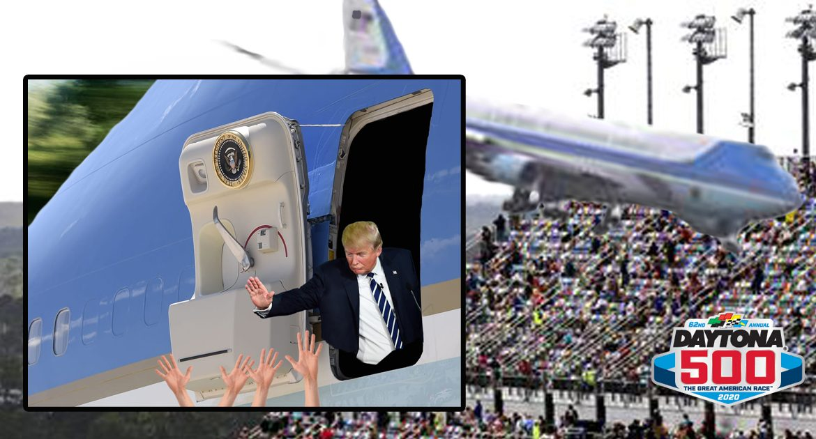 Trump Surprises Daytona 500 Fans By Flying Air Force One Low Enough For High Fives