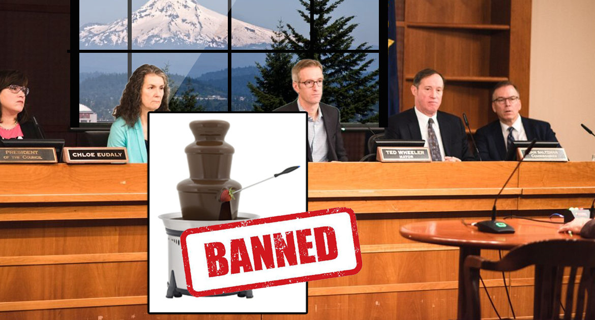 Portland Outlaws Fondue Fountains Claiming They Promote 'Dangerous Trickle-Down Economic Theory'