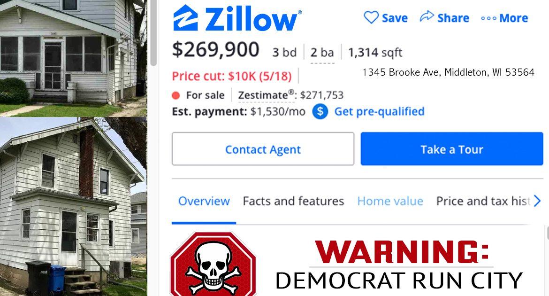 Zillow Adds Warning To Homes In Democrat-Run Cities