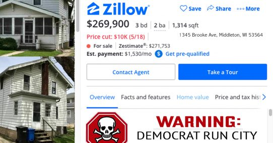 Zillow Adds Warning To Homes In Democrat-Run Cities
