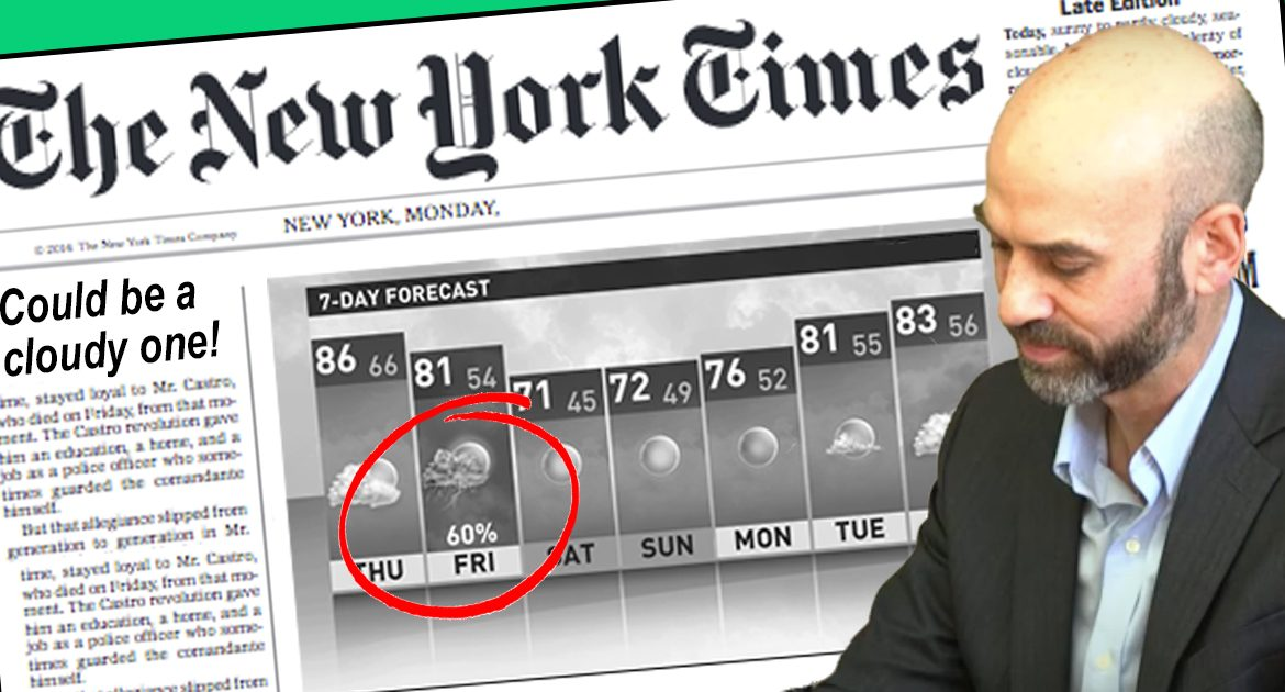 New York Times Editor Resigns In Disgrace After Allowing Weather Section To Say It Might Be Cloudy On Friday