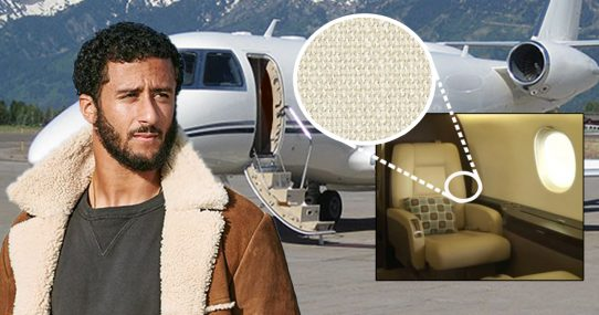 Kaepernick Suffers More Oppression As Private Jet Arrives With Cloth Interior