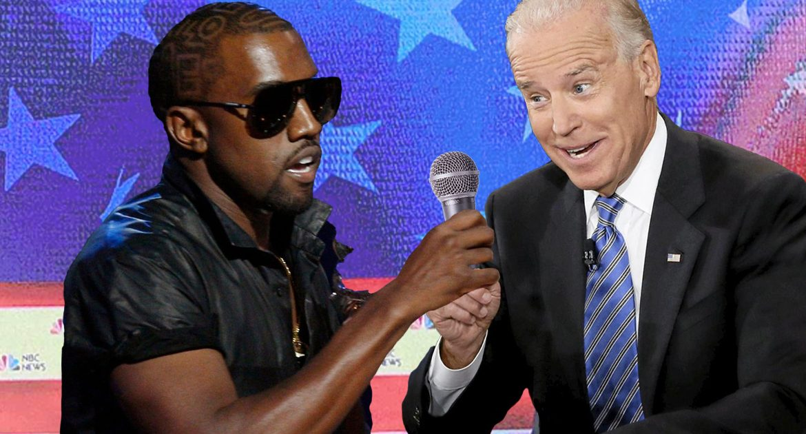 Democrat Party Hopes Kanye West Can Yank Microphone Away From Joe Biden As Much As Possible