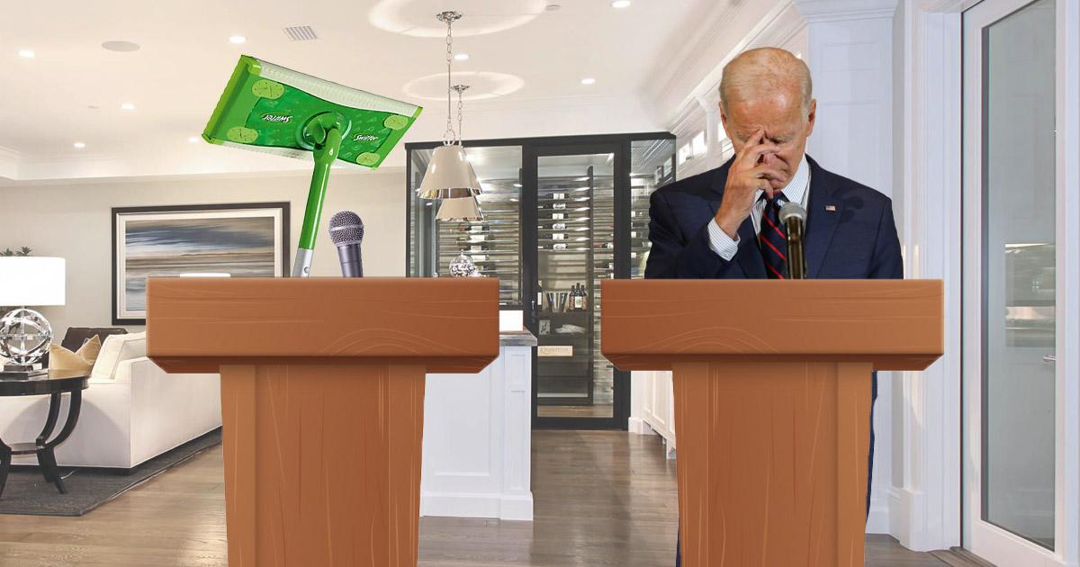 Swiffer Mop Destroys Biden In Practice Debate