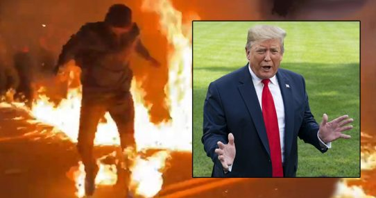 'It's OK, He Has Insurance,' Trump Says About Protester On Fire