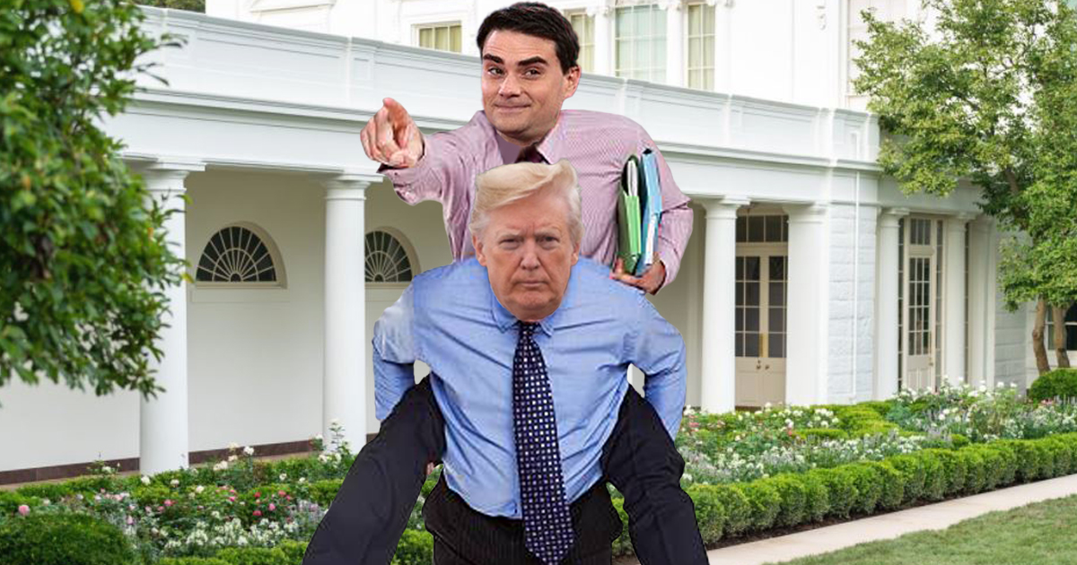 Ben Shapiro To Guide Donald Trump's Every Move Via Piggyback