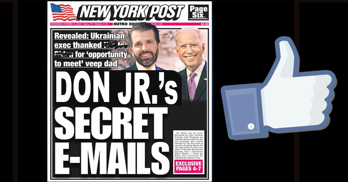 "New York Post's Story Allowed To Run On Facebook After Agreeing To Replace ""Hunter Biden"" with ""Don Jr."""