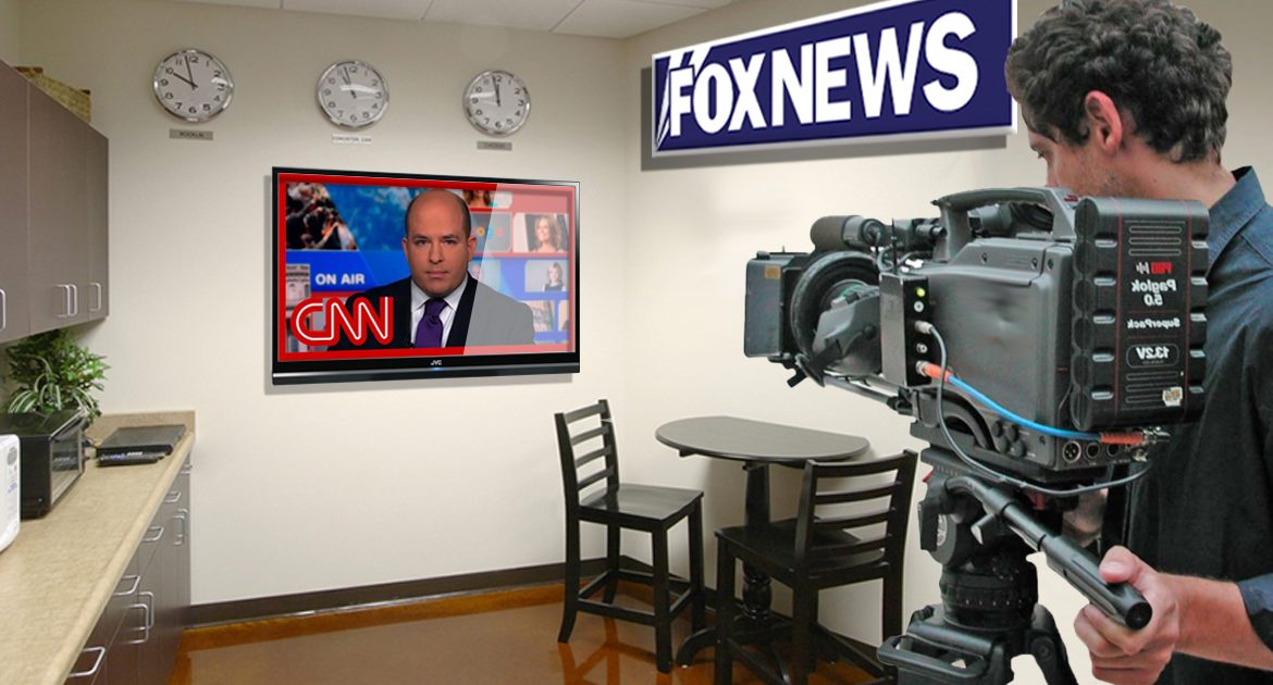 Fox News Begins Just Filming CNN On Breakroom TV