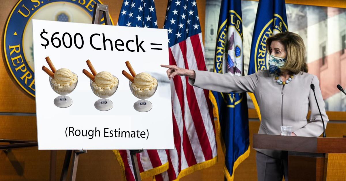 Pelosi: '$600 Stimulus Checks Can Buy Up To Three Gourmet Ice Creams'