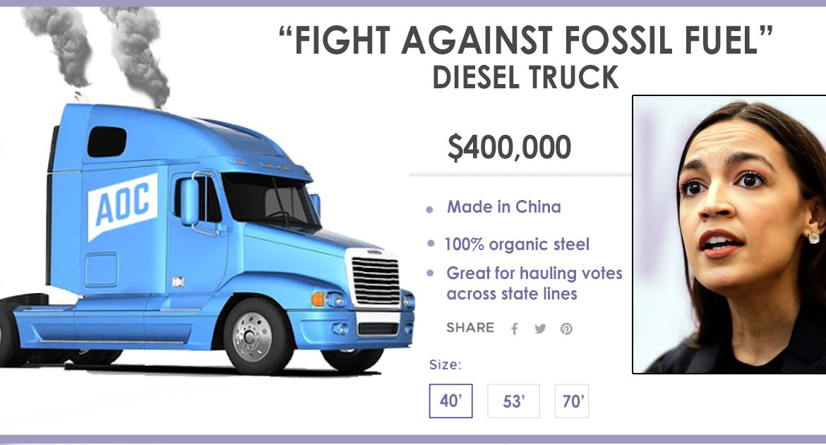 AOC's Store Now Selling 'Fight Against Fossil Fuel' Diesel Trucks