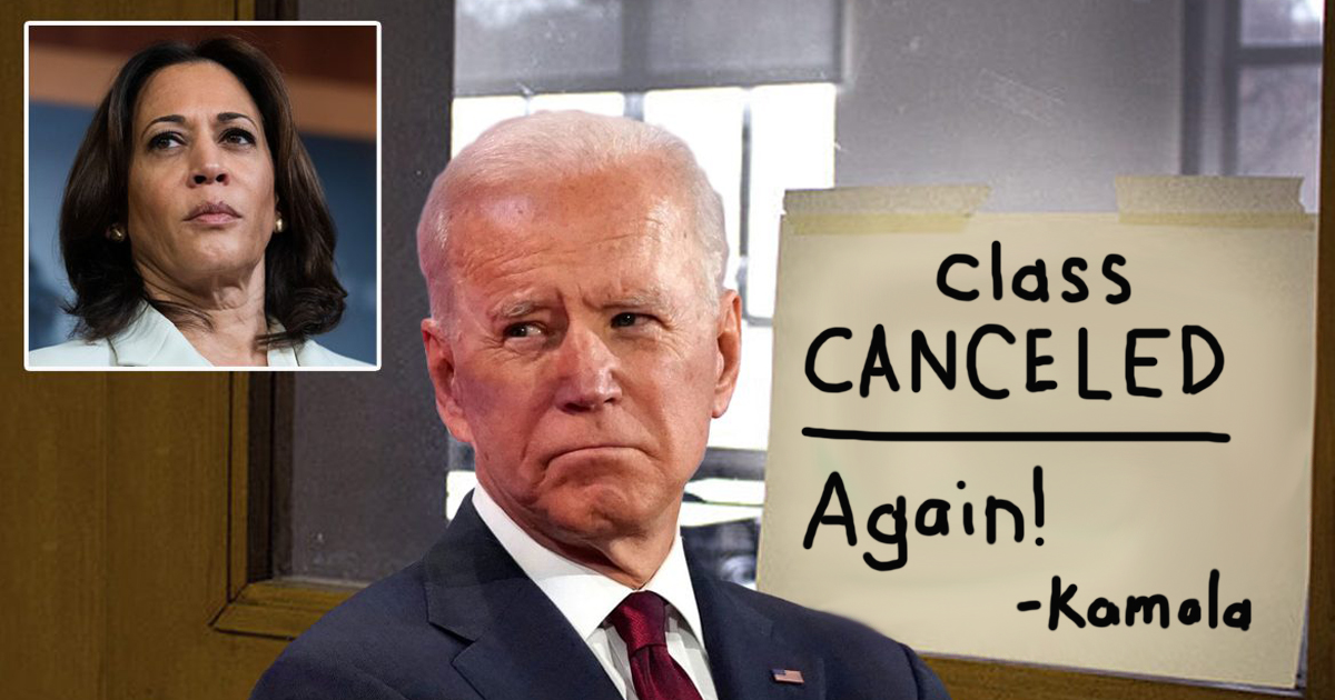Joe Biden's Class On 'Becoming An Alpha Male' Cancelled Again By Kamala Harris