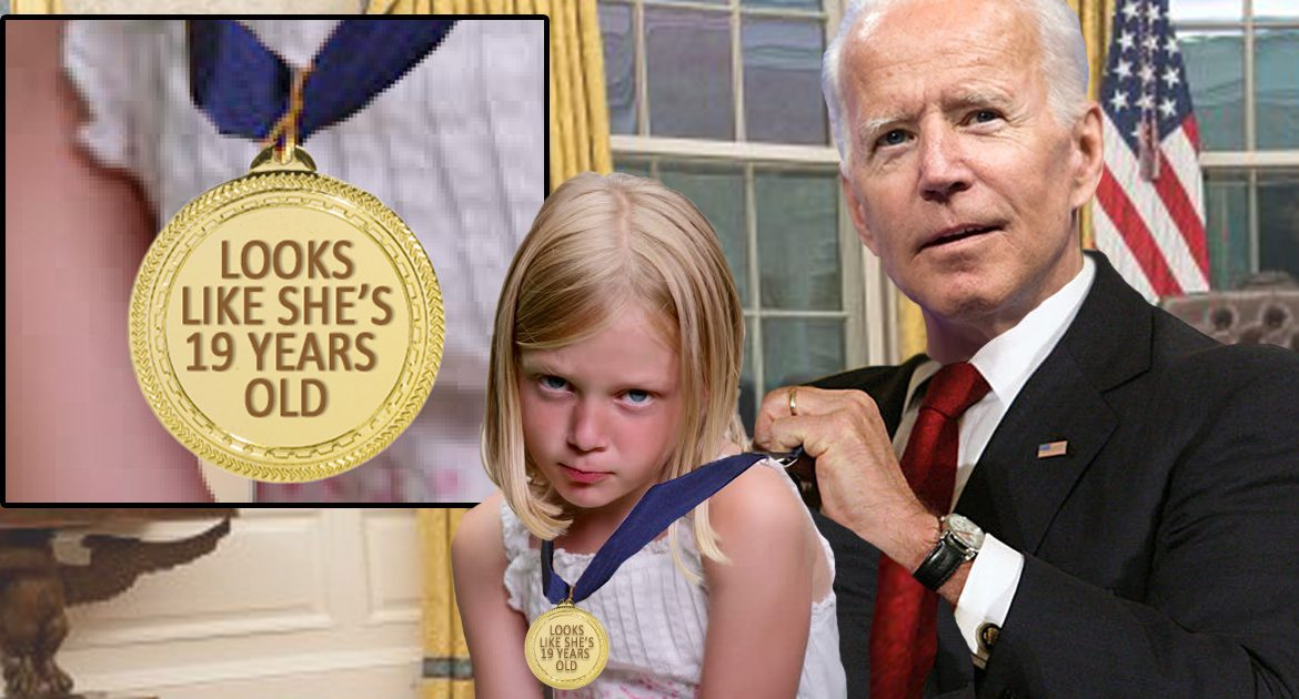 Nation Begs Biden To Stop Awarding Young Girls With 'Looks Like She's 19-Years-Old' Medals