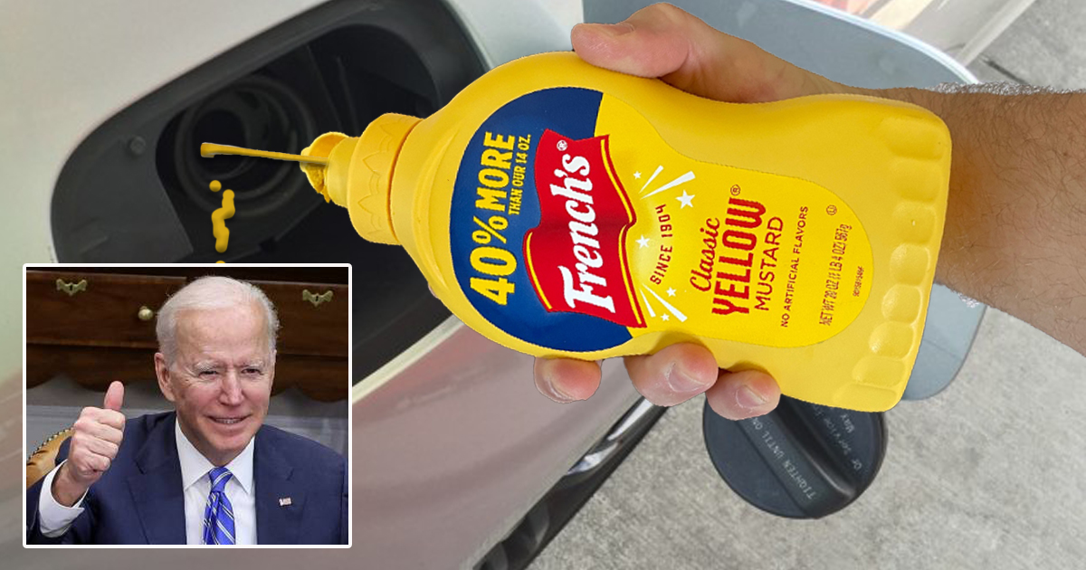 Biden Voters Take Victory Lap By Filling Gas Tanks With More Affordable Mustard