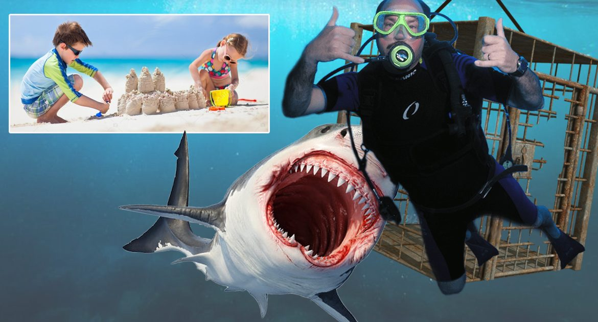 Kids Not Wearing Shark Cages On Beach Cause Scuba Diver's Shark Cage To Fail