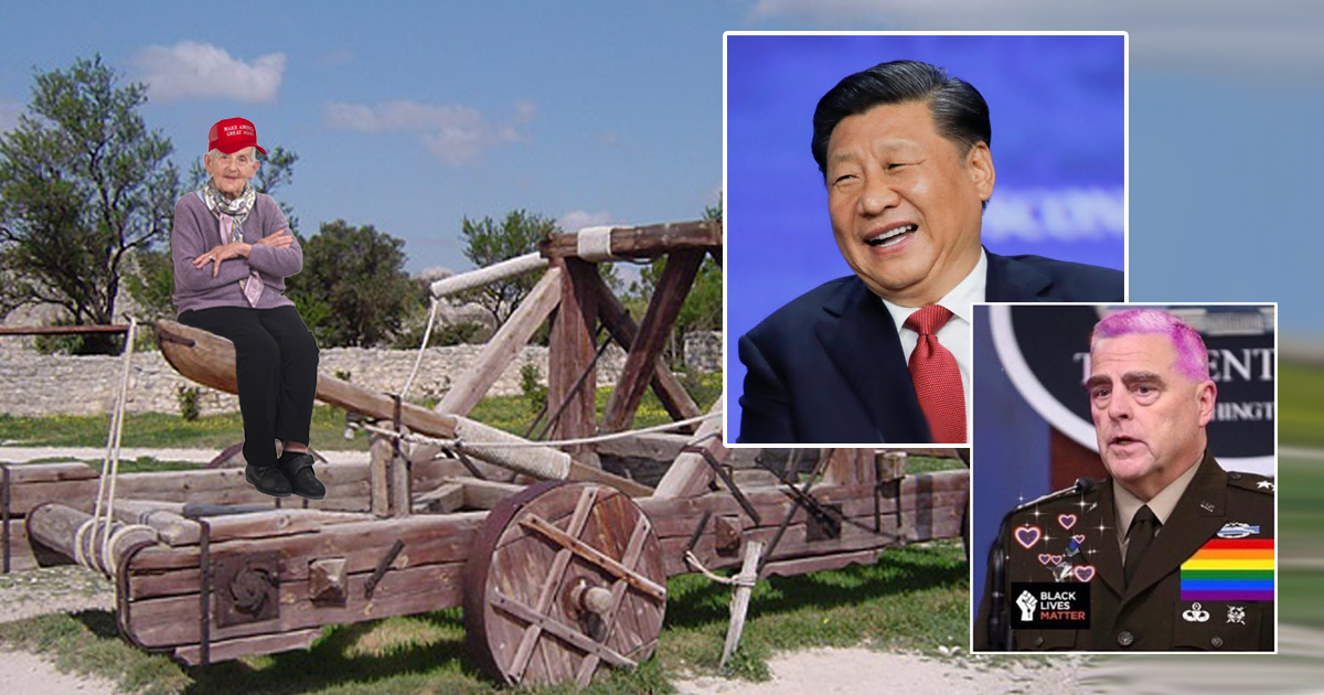 Panic: China Aims Catapult Loaded With January 6th Insurrectionist At D.C.