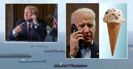 Trump Fixes Supply Chain By Telling Biden Shipping Containers Are Full Of Ice Cream